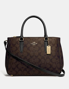 COACH SURREY CARRYALL IN SIGNATURE CANVAS F67026 (BROWN/BLACK/IMITATION GOLD)