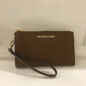 Michael Kors Jet Set Travel Double Zip Wristlet (Brown/Luggage)