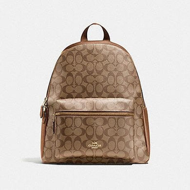 COACH CHARLIE BACKPACK IN SIGNATURE F58314 (LIGHT GOLD/KHAKI)