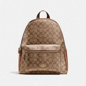 COACH CHARLIE BACKPACK IN SIGNATURE F58314 (LIGHT GOLD/KHAKI SADDLE)