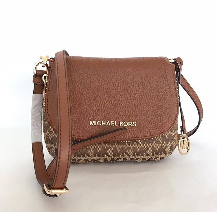 Michael Kors Small Bedford Signature 35F9GBFC1J Flap Crossbody Bag (Beige/Ebony/Luggage)