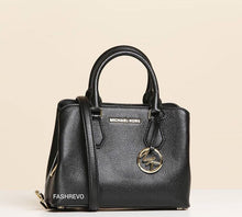 Load image into Gallery viewer, MICHAEL KORS HANDBAG CAMILLE SMALL LEATHER SATCHEL (BLACK)