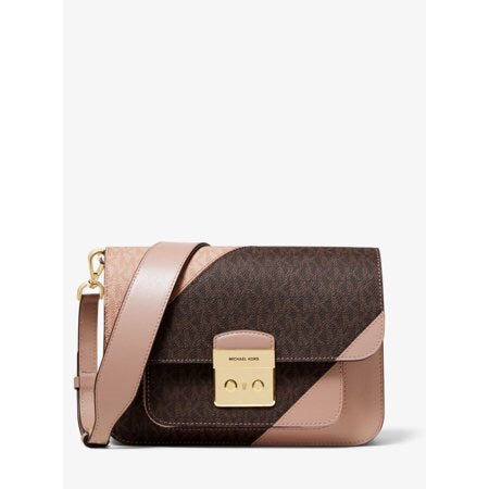 Michael Kors Sloan Editor Two-Tone Logo and Leather Shoulder Bag BROWN/FAWN