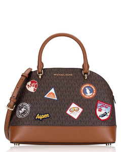 Michael Kors Aspen Emmy Large Dome Satchel 35H9GPUS71 In Brown Multi