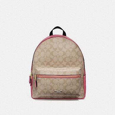 COACH MEDIUM CHARLIE BACKPACK IN SIGNATURE CANVAS F32200 (LIGHT KHAKI/ROUGE/GOLD)