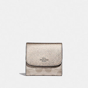 SMALL WALLET IN SIGNATURE CANVAS (COACH F40646) PLATINUM/SILVER
