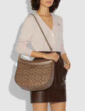 Load image into Gallery viewer, COACH ELLE HOBO IN SIGNATURE CANVAS F73285 (GOLD/KHAKI/PLATINUM)
