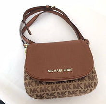 Load image into Gallery viewer, Michael Kors Small Bedford Signature 35F9GBFC1J Flap Crossbody Bag (Beige/Ebony/Luggage)