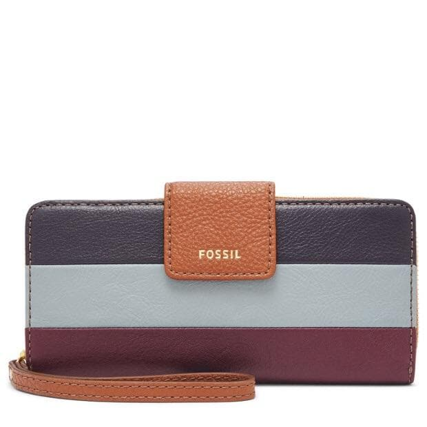 FOSSIL MADISON ZIP CLUTCH WINE MULTI