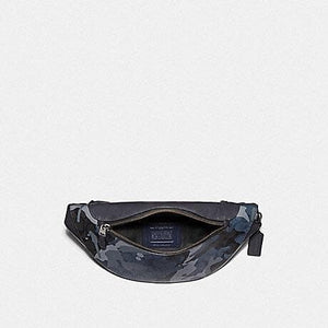 Coach Warren Belt Bag in Signature Canvas with Camo Print F76842 (Blue Multi/Black Antique Nickel)