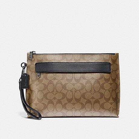 COACH CARRYALL POUCH IN SIGNATURE CANVAS F29508 (TAN/BLACK ANTIQUE NICKEL)