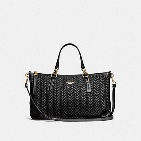 COACH ALLY SATCHEL WITH QUILTING F73978 (BLACK/IMITATION GOLD)