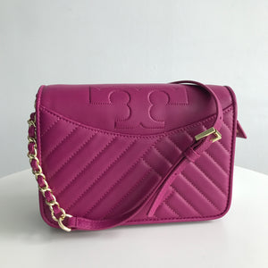Tory Burch Alexa Party Fuschia  Leather Cross Body Bag