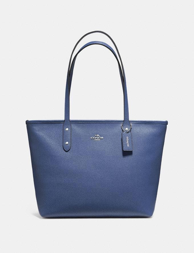 COACH CITY ZIP TOTE F58846 (DARK PERIWINKLE/SILVER)
