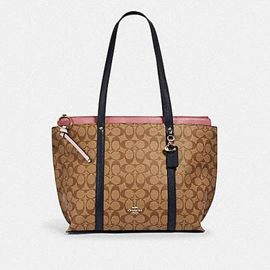Coach Signature May 2319 Colorblock Tote Bag In Khaki Midnight Multi