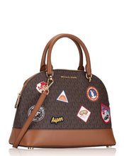 Load image into Gallery viewer, Michael Kors Aspen Emmy Large Dome Satchel 35H9GPUS71 In Brown Multi