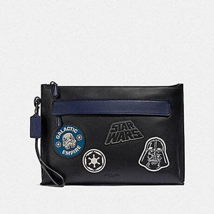 COACH STAR WARS X COACH CARRYALL POUCH WITH PATCHES F88113 (QB/BLACK)