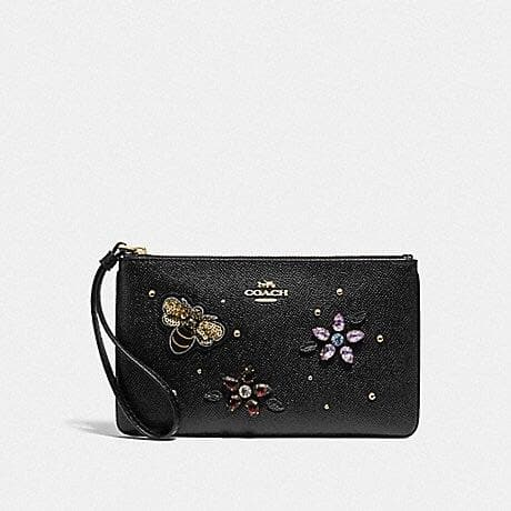 COACH LARGE WRISTLET WITH GEMSTONES F72884 (BLACK/GOLD)