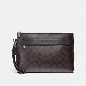 COACH CARRYALL POUCH IN SIGNATURE CANVAS F29508 (MAHOGANY/BLACK/BLACK ANTIQUE NICKEL)