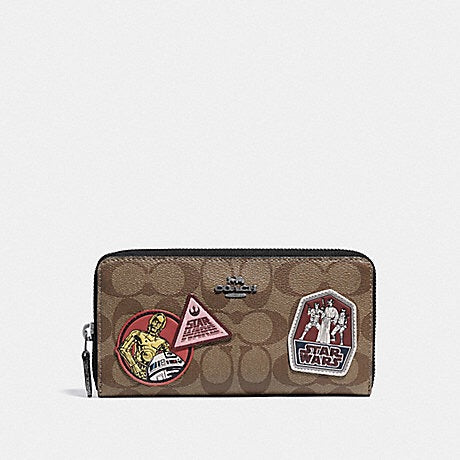 STAR WARS X COACH ACCORDION ZIP WALLET IN SIGNATURE CANVAS WITH PATCHES F88560 (Qb/Khaki Multi)