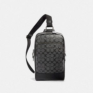GRAHAM PACK IN SIGNATURE CANVAS (COACH 89937) QB/CHARCOAL/BLACK