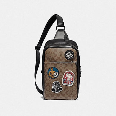 STAR WARS X COACH WESTWAY PACK IN SIGNATURE CANVAS WITH PATCHES F88066 (QB/TAN MULTI)