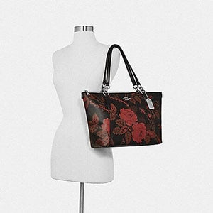 Coach Ava Tote with Thorn Roses Print F76683 (Black Red Multi/Silver)