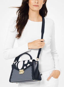 Whitney Medium Graphic Logo Satchel (ADMIRAL/OPTIC WHITE)