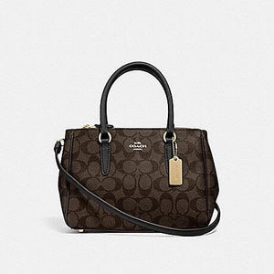 COACH MINI SURREY CARRYALL IN SIGNATURE CANVAS F67027 (BROWN/BLACK/IMITATION GOLD)