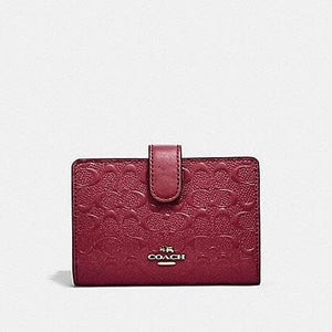 Coach Medium Corner Zip in Signature Leather F25937 (Cherry/Light Gold)