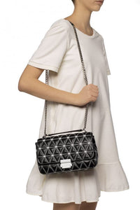 Michael Kors Sloan Large Chain Shoulder Quilted Leather (Admiral)