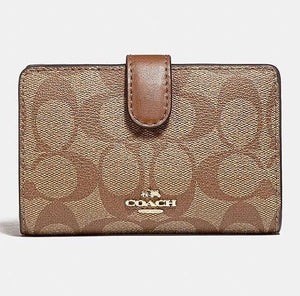 Coach Signature Medium Corner Zip Wallet F23553 (LIGHT GOLD/KHAKI SADDLE)