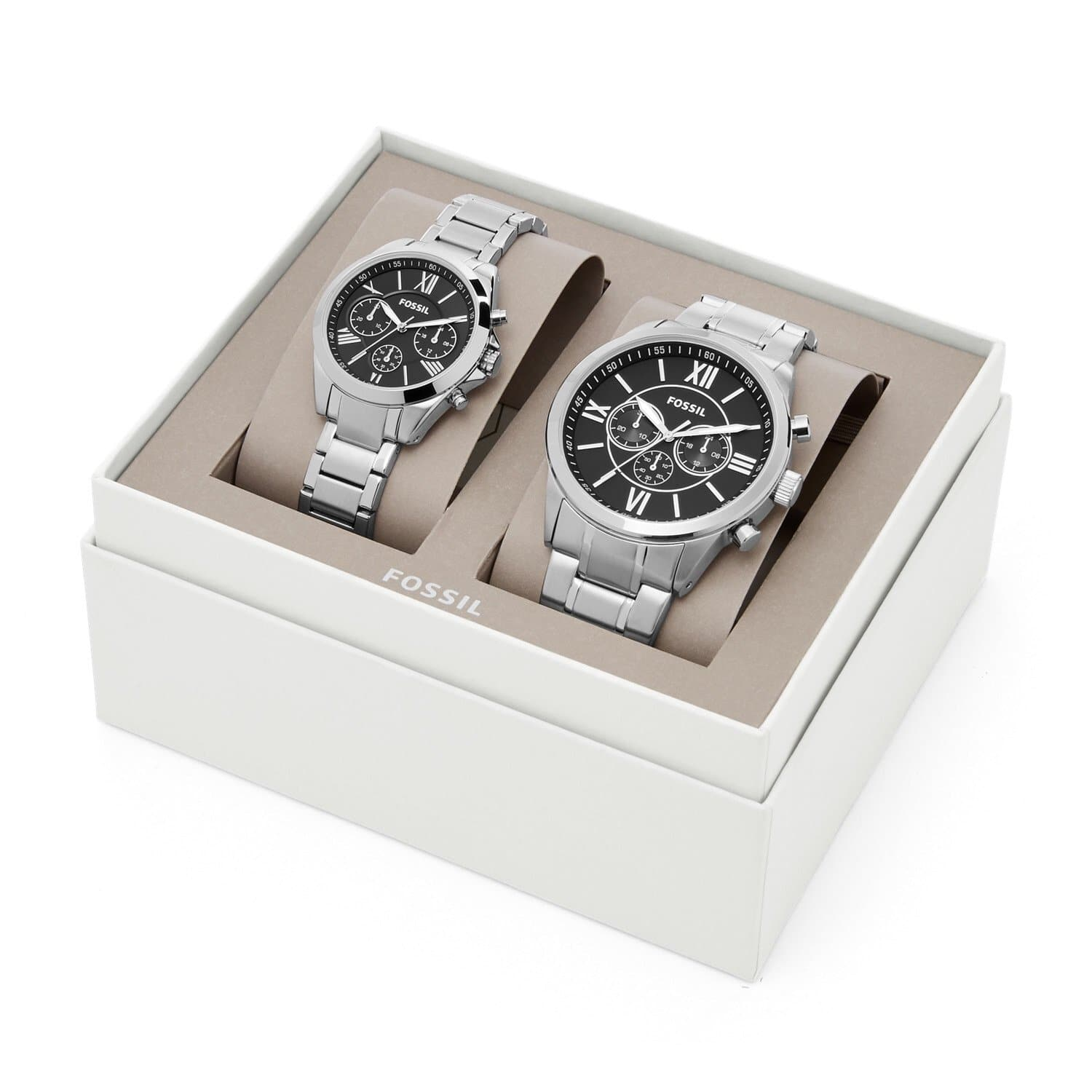 FOSSIL HIS AND HER CHRONOGRAPH STAINLESS STEEL WATCH GIFT SET BQ2146SET