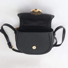 Load image into Gallery viewer, Michael Kors Small Fulton Black Leather 35F9GFTC1L Saddle Crossbody Bag