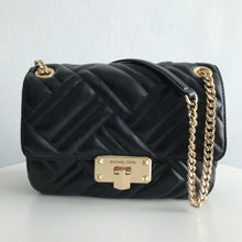 Load image into Gallery viewer, Michael Kors Quilted Peyton Medium Shoulder Flap Vegan Faux Leather 35S0GP6F2U In Black