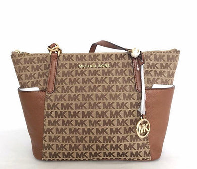 MICHAEL KORS Bedford Large EW Top Zip Tote (Beige/Ebony/Luggage) 35F9GBFT9J