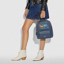 Load image into Gallery viewer, COACH JES BACKPACK WITH RAINBOW HORSE AND CARRIAGE F76772 (DENIM/MULTI/SILVER)