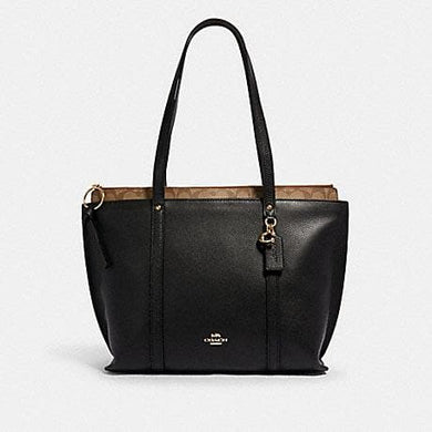Coach Signature May 1575 Tote Bag In Black Khaki