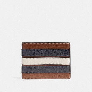COACH MEN WALLET SLIM BILLFOLD WITH VARSITY STRIPE F26171 (SADDLE/CHALK/MIDNIGHT NAVY)