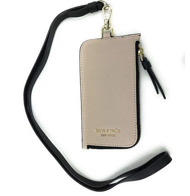 KATE SPADE LANYARD CARD CASE LANYARD CAMERON (WARMBEIGE/BLACK)