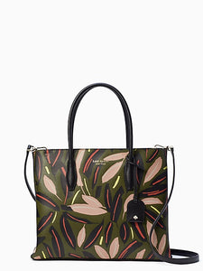 Kate Spade small top zip satchel Eva Modern Feather (Greenmulti)