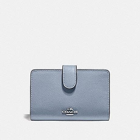 COACH MEDIUM CORNER ZIP WALLET IN CROSSGRAIN LEATHER F11484 (SILVER/STEEL BLUE)