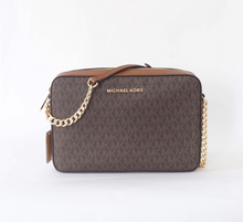 Load image into Gallery viewer, Michael Kors Jet Set Travel Item Large EW Crossbody 35F8GTTC3B In Brown