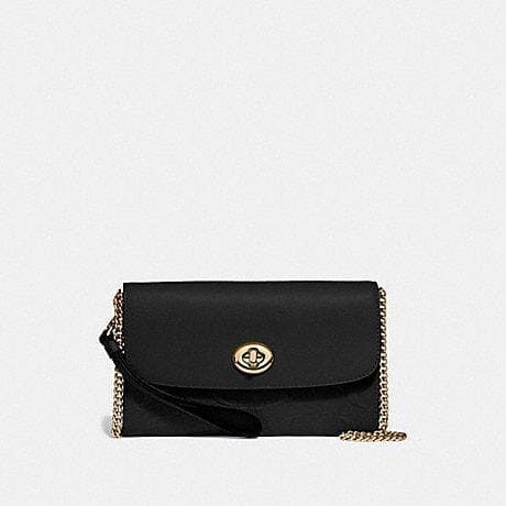 Coach Chain Crossbody in Signature Leather F24469 (Black/Gold)