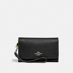 Coach Flap Phone WAllet F30205 (Black/Light Gold)