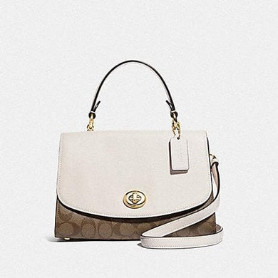 Coach Tilly Top Handle Satchel with Signature Canvas F7662 (Khaki/Chalk/Gold)
