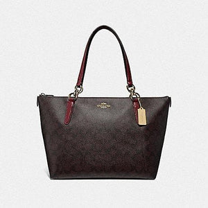 Coach Ava Tote in Signature Canvas F31976 (Imitation Gold/Brown/Wine)