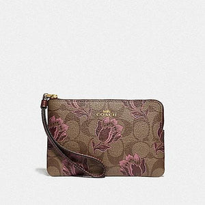 Coach Corner Zip Wristlet in Signature Canvas with Desert Tulip Print F78113 (Imitation Gold/Khaki Pink Multi)