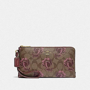 Coach Double Zip Wallet in Signature Canvas with Desert Tulip Print F78116 (Imitation Gold/Khaki Pink Multi)