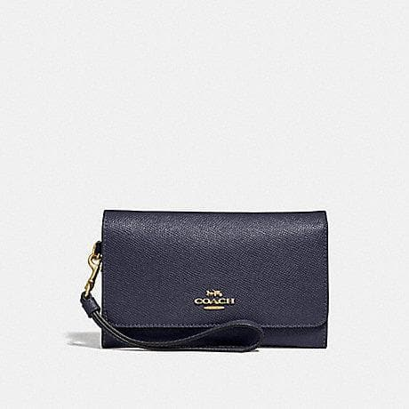 Coach Flap Phone Wallet F30205 (Midnight/Light Gold)
